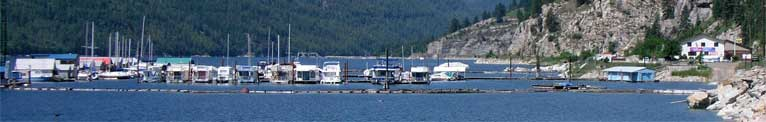 Panorama view of Scotties Marina in Castlegar